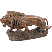 Exceptional Huge Antique French Solid Bronze Lion Sculpture Signed By The Artist Jean Bernard Descomps