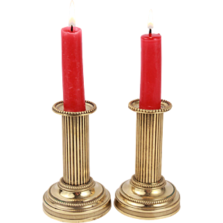 Lovely French Antique Small Pair of Brass Candelstick Candleholder Candelabra Louis XVI style Circa 1900