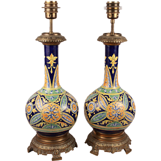 Marvelous Antique French Chateau Majolica Gien Large Faience Pair of Lamp Circa 1880