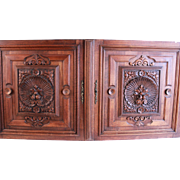 Splendid Large Pair of French Antique Hand Carved Architectural Panels Door Walnut Wood