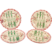 French Antique Longchamp Signed Asparagus Set of 4 Exquisite Plates with Floral Decor & High Relief Circa 1890