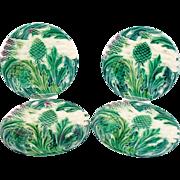 Wonderful Antique French Majolica Asparagus & Artichokes Set of 4 Plates Luneville Circa 1880