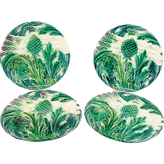 Wonderful Antique French Majolica Asparagus & Artichokes Set of 4 Plates Luneville Circa 1880