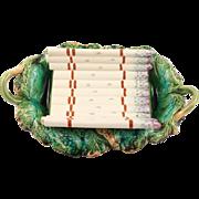 French Antique Longchamp Terre de Fer Asparagus Platter Signed Circa 1890