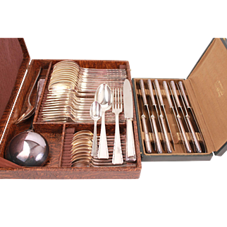French Art Deco Complete Set of Cutlery by Ercuis 50 pieces Spoons Knife Fork Teaspoon Ladle
