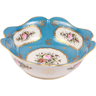 Divine French Antique Sevres Style Porcelain Bowl Hand Painted Roses Flowers