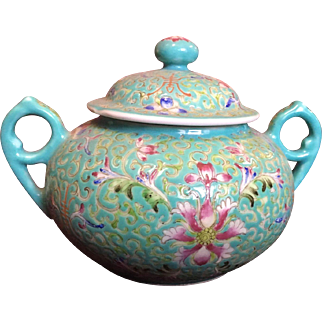 Chinese Porcelain Sugar Container c. 1890