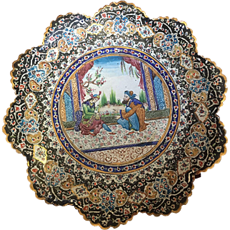 Antique Persian Hand Painted Plate with Enamel
