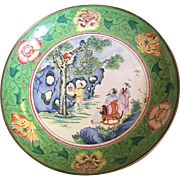 Antique Canton Chinese Enamel on Copper Plate