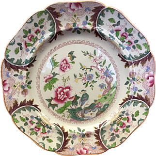 John Ridgway Imperial Stone China Plate, English Chinoiserie, Antique Early 19th C