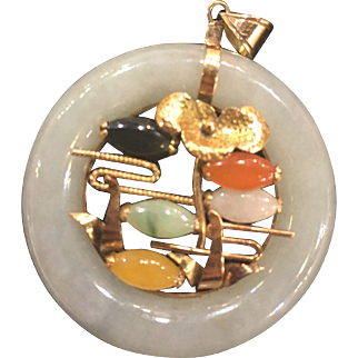 14K Gold Jade Pendant in Multi Colors