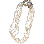 Beautiful 14k Gold Pearl Necklace with a Gorgeous Mabe Pearl Clasp 1970s