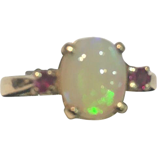 Fire Opal Ring with Rubies 14k Gold 1970s