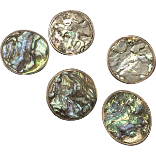 Beautiful Vintage Taxco Abalone Buttons