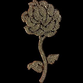 PAULINE TRIGERE gigantic rhinestone rose pin / 6 inch statement brooch