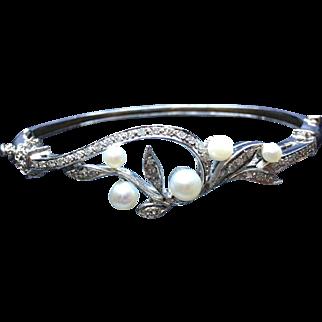 14k White Gold Diamond and Pearl Bracelet