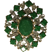 Gorgeous Vintage Arnold Scaasi 1960s Emerald Green Rhinestone Large Brooch Pin Art Deco