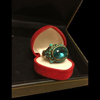 Heidi Daus Snake Head Big Blue Stone Bronze Tone Ring