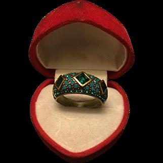 Heidi Daus Three Big Blue Stone Bronze Tone Ring