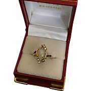 Gold Ring with a Big Opal and Diamonds
