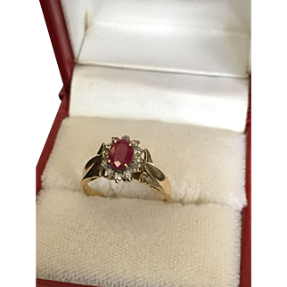 Big Ruby Gold Ring with Small Diamonds