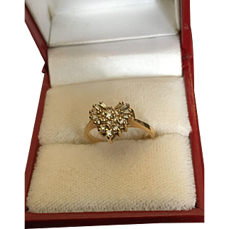 Beautiful Gold Ring with Diamonds in a Shape of a Heart