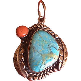 Navajo Pendant with Turquoise and Coral Native American
