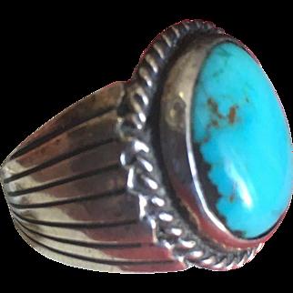 Big Blue Navajo Native American Turquoise Ring