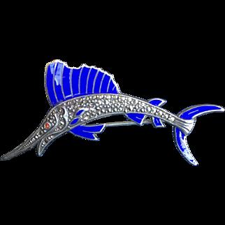 Art Deco Enamel Swordfish Pin