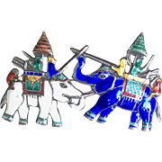Vintage Colorful Sterling Enameled Elephant Brooch/Pin Signed Siam Thai Sterling 1940s