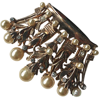 Robust Signed DEROSA Sterling Faux Pearl and Rhinestone Crown Brooch