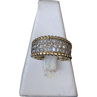 14k Yellow Gold Ring with a Band of Diamonds