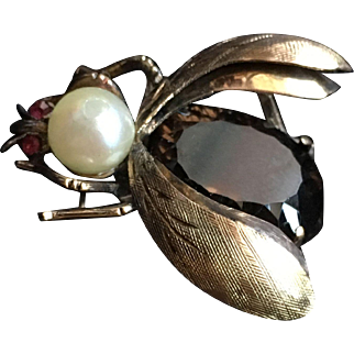 12k Gold Bee Brooch with Topaz