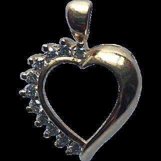 Beautiful Gold Heart Pendant with Diamonds