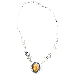 1970 Silver Necklace with Fire Opal