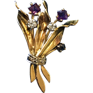 Beautiful 14k Gold Flower Pin with Sapphires, Amethysts and Diamonds