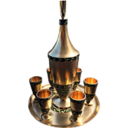 Russian Silver Liquor Set with a Tray and Decanter