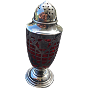 Powdered Sugar Container Silver with Ruby Glass