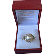 14k Gold Ring with a Cultured Pearl and Diamonds