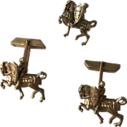 Silver Cufflinks and Tie Clip with Medieval Knights