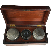 English Tea Caddy Mahogany with Pewter Containers