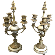 Gilded Bronze and Onyx Candelabras Luis XVI Style