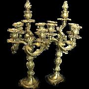 Gilded Bronze Louis XV Style Candelabras