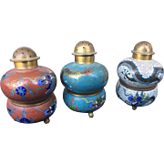 Cloisonne Set of Salt and Pepper Shakers c.1920s