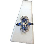 Art Deco Style White Gold Sapphires with Diamonds Ring