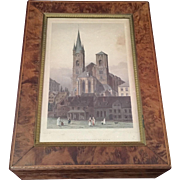 Wooden Box by Carl Hiess Wien Kohlmarkt 12 with a Lithograph