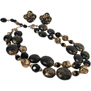 Vintage Necklace & Earrings Signed Deuville Black & Gold Double Strand