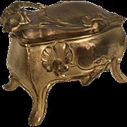 Vintage Art Nouveau Spelter Jewelry Casket Trinket Box