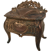 Art Nouveau Spelter Jewelry Casket Trinket Box