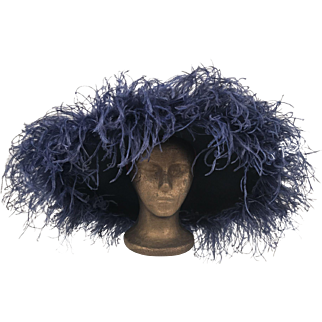 Vintage Joe Bill Miller Wool Hat By Michael Howard Navy With Ostrich Feathers 1980's